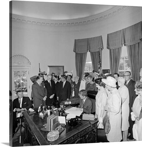 president john f kennedy signing the equal pay act wall art canvas