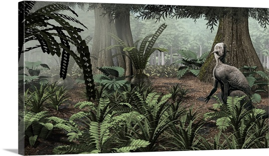 Forest Wall Art psittacosaurus sinensis rests on his haunches in a cretaceous