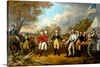 Revolutionary War Painting showing the surrender of British General John Burgoyne