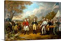 Revolutionary War Painting showing the surrender of British General John Burgoyne