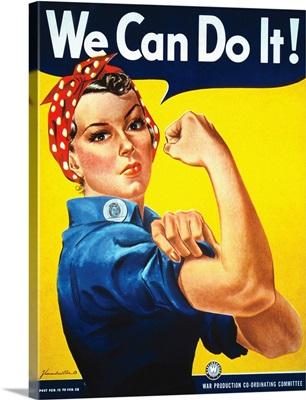 Rosie The Riveter vintage war poster from World War II