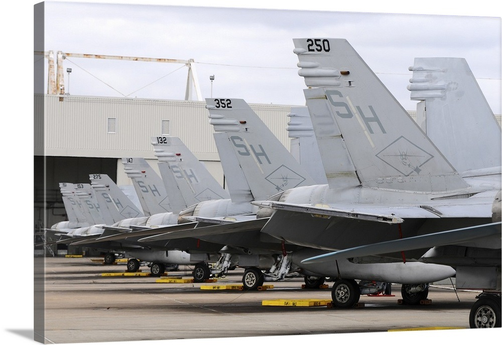 408df6681e Row of US Marine Corps F A-18 Hornet tail fins at MCAS Miramar Wall ...