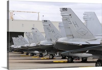 Row of US Marine Corps F/A-18 Hornet tail fins at MCAS Miramar