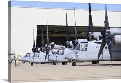 Row of US Marine Corps MV-22B Osprey aircraft at MCAS Miramar