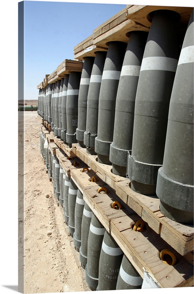 Rows Of Ammunition Are Stacked And Prepped To Be Moved Into Modular Storage  Cells. Canvas