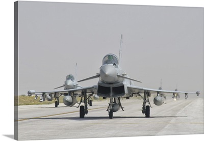 Royal Air Force EF-2000 Typhoon aircraft on the flight line