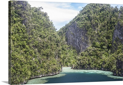 Rugged limestone islands surround corals growing in a gorgeous lagoon