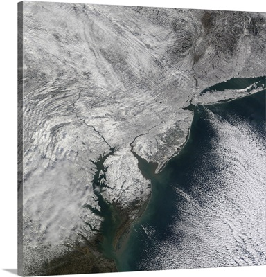 Satellite view of a Noreaster snow storm over the United States