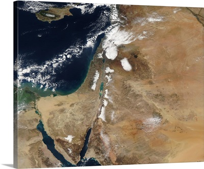 Satellite view of a rare winter storm across much of the Middle East