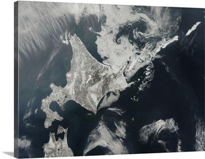 Satellite view of Hokkaido Island, Japan