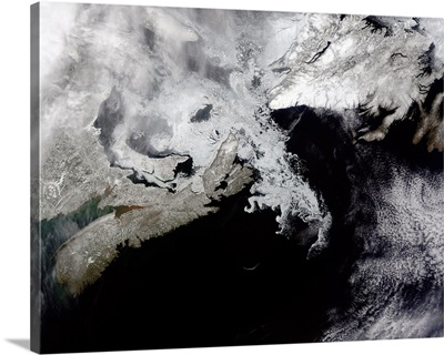 Sea ice fills the Gulf of St Lawrence giving the landscape a wintery appearance