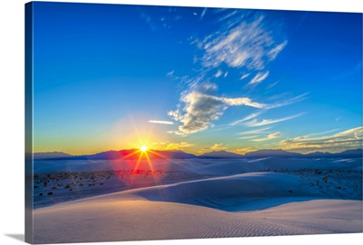 Setting Sun at White Sands National Monument, New Mexico