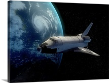 Space Shuttle backdropped against Earth