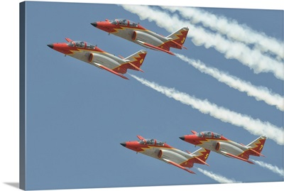Spanish Air Force Patrulla Aguila performing at an airshow in Morocco