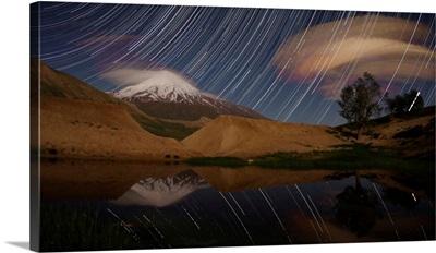 Star trails above Mount Damavand, Iran