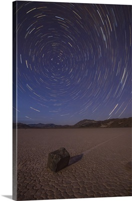 Star trails at the Racetrack Playa in Death Valley National Park, California