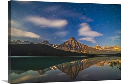 Star trails behind Mount Chephren in Banff National Park, Canada