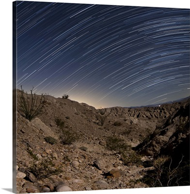 Star trails over the rugged canyon in Anza Borrego Desert State Park, California