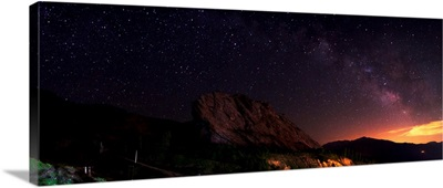 Starry night sky above Alamut castle, Qazvin Province, Iran
