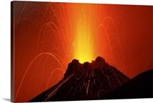 Stromboli eruption Aeolian Islands north of Sicily Italy