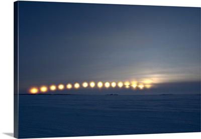 Sun movement from Dettah Ice Road Yellowknife Northwest Territories Canada