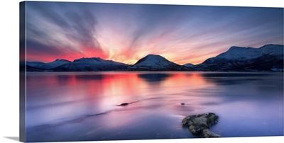 Sunset over Tjeldsundet, Troms County, Norway