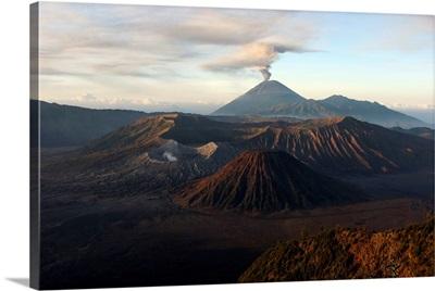 Tengger caldera with erupting Semeru Java Island Indonesia