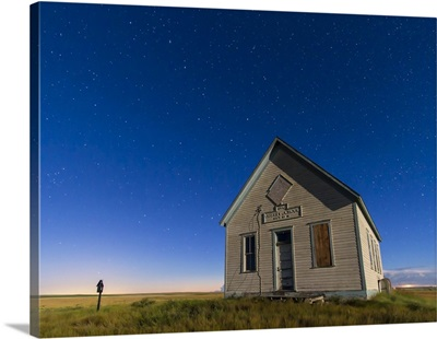 The 1909 Liberty School on the Canadian Prarie in moonlight with Big Dipper