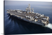 The aircraft carrier USS Nimitz is underway in the Arabian Gulf