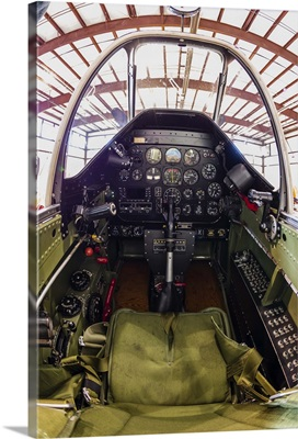 The cockpit of a P-51 Mustang