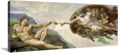 The Creation of Adam painting by Michelangelo on ceiling of the Sistine Chapel