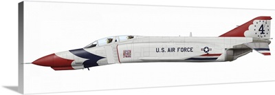 The F-4E Phantom II operated by the U.S. Air Force Thunderbirds squadron until 1973