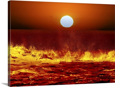 The Sun and ocean waves in Miramar, Argentina