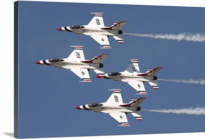 The U.S. Air Force Thunderbirds fly in formation