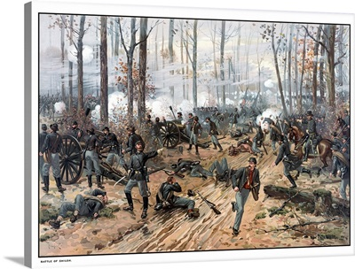 This Civil War painting shows Union and Confederate troops at The Battle of Shiloh