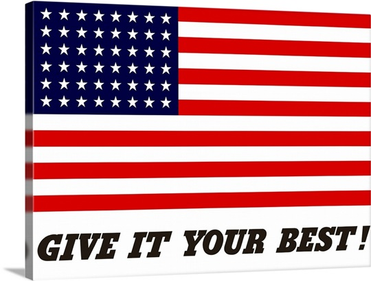 This Vintage War Propaganda Poster Features The American Flag