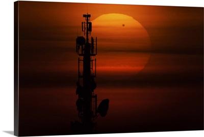 Transit of Venus behind communication tower, Leipzig, Germany