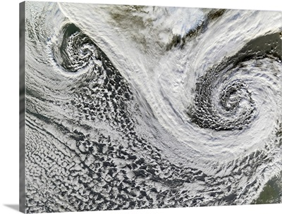 Two cyclones formed in tandem south of Iceland Scotland appears in the lower right