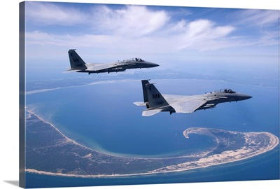 Two F-15 Eagles fly high over Cape Cod, Massachusetts