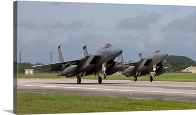 Two F-15s come in for a landing at Kadena Air Base, Okinawa, Japan