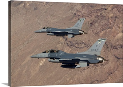 Two F-16s on a training mission over the Arizona desert