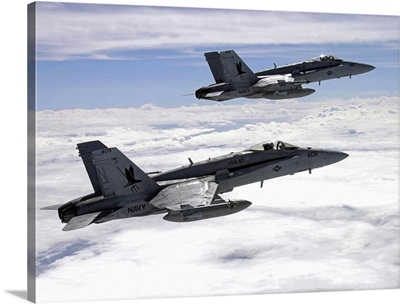 Two F/A18C Hornets fly over the Pacific Missile Range Facility