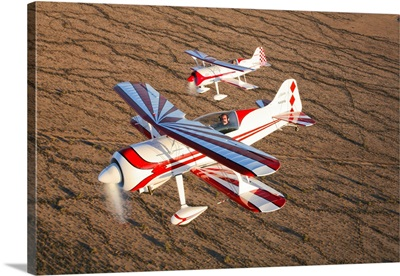 Two Pitts Model 12 aircraft in flight