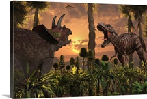 Tyrannosaurus Rex and Triceratops meet for a battle to the death