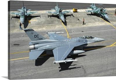 U.S. Air Force F-16C taxiing at Natal Air Force Base, Brazil
