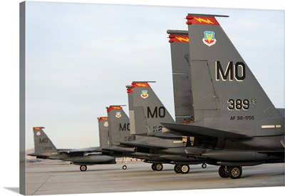 US Air Force F15E Strike Eagles taxi in after arriving to Nellis Air Force Base Nevada
