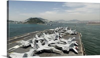 USS George Washington prepares to enter the harbor in Korea