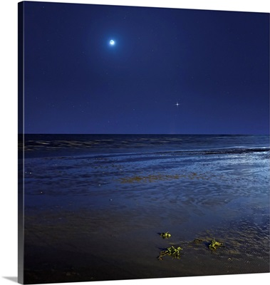 Venus shines brightly below the crescent Moon from coast of Buenos Aires, Argentina