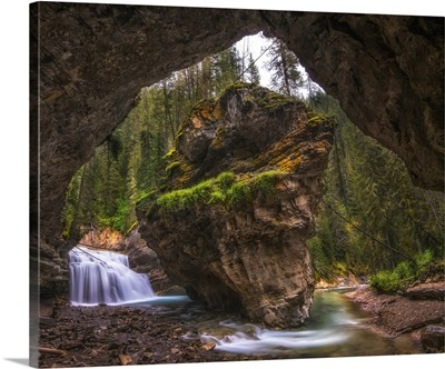 View From Inside A Cave In Banff National Park, Alberta, Canada