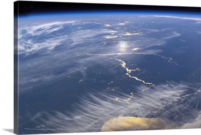 View from space featuring the Lake Michigan area
